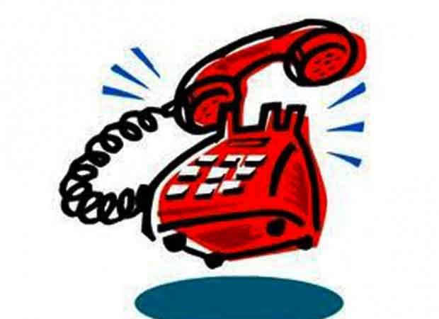 Ilustração de telefone vermelho tocando