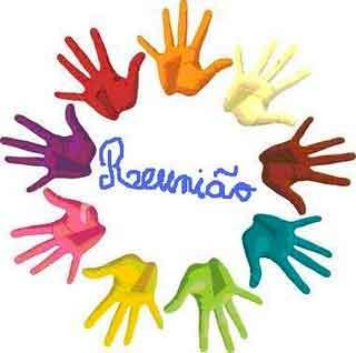 Palavra Reunião no centro de um círculo formado por mãos coloridas
