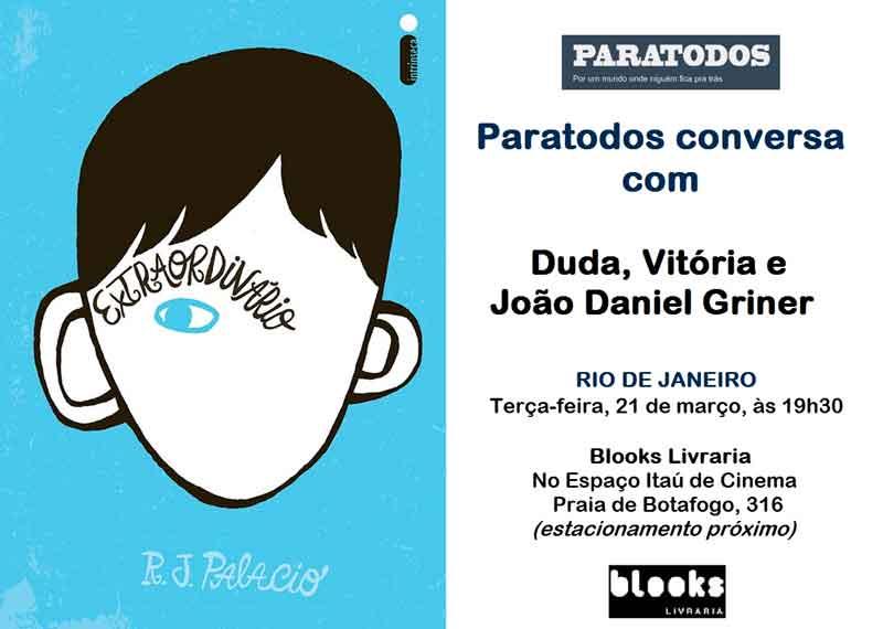 Convite para evento Paratodos sobre livro Extraordinário.