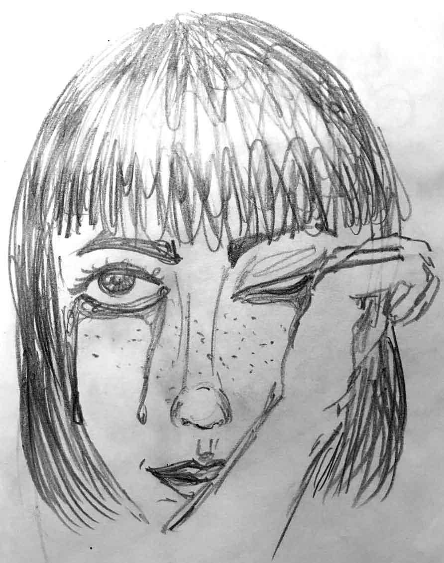 Desenho de uma mulher chorando