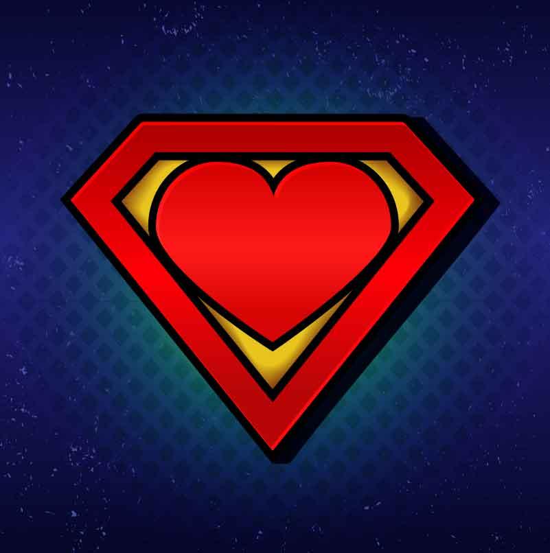 Imagem alusiva ao símbolo do super-homem e super-mulher.